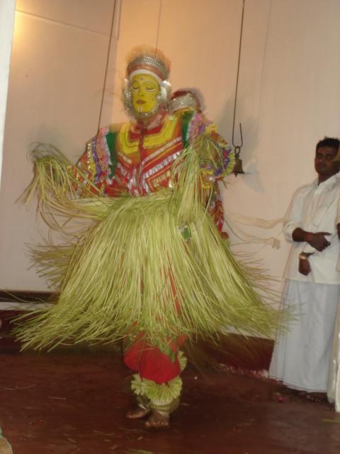 One of the performers of a ritual dance at Bommarabettu village in Udupi, Karnataka