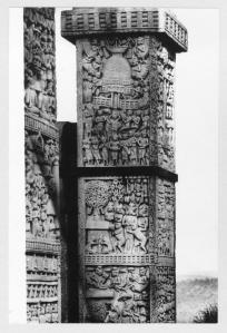 Sanchi Stupa: Northern gateway, west pillar, upper part, shows the Mallas sing dance around the Bodhi tree