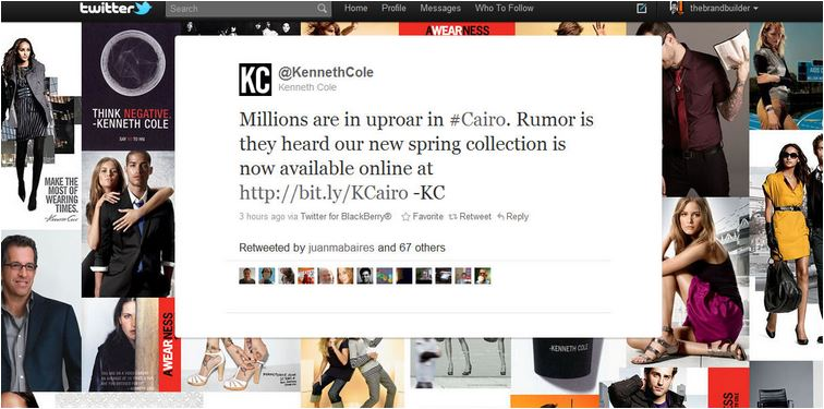 Kenneth Cole Cairo Tweet