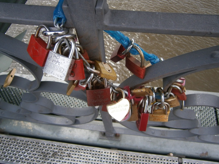 Wishing Locks + Love Locks on the Main River Bridge, Frankfurt
